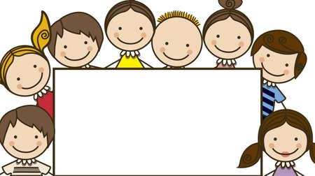 Ilustración de los iconos de los niños, con un cartel, grupos de niños, ilustración vectorial