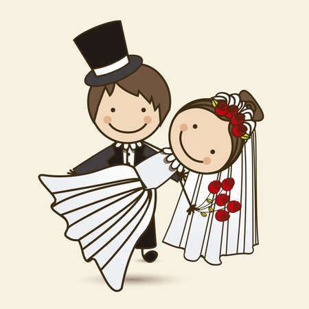 Illustration of wedding couple with wedding dress, vector illustration Illustration
