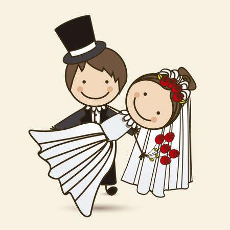 to wed: Illustrazione di sposi con il vestito da sposa, illustrazione vettoriale Vettoriali