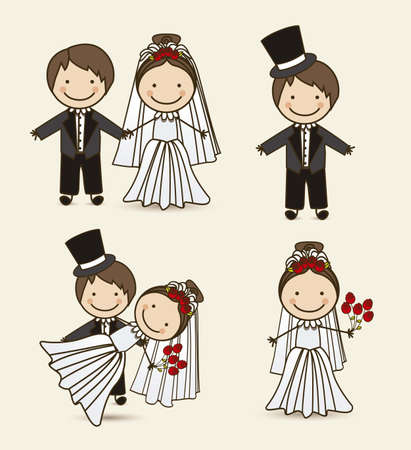 newlyweds: Illustration of wedding couple with wedding dress, vector illustration Illustration