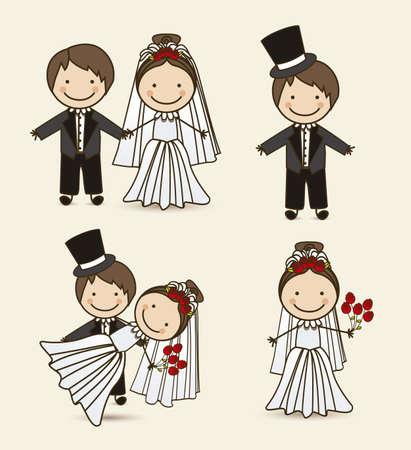 Ilustraci�n de los pares de la boda con el vestido de boda, ilustraci�n vectorial