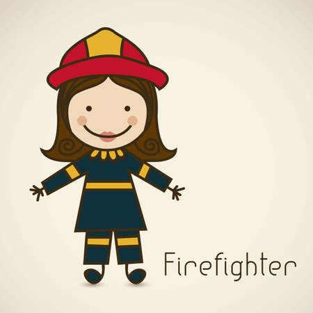 Illustration of a firefighter with suit, firefighter icon, vector illustration Vector