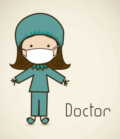 chirurgo: Illustrazione di un chirurgo con un abito, medico icona, illustrazione vettoriale Vettoriali