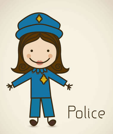 Illustration of a cop in a suit, police icon, vector illustration Vector