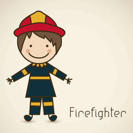 firefighter uniform: Illustration of a firefighter with suit, firefighter icon, vector illustration Illustration