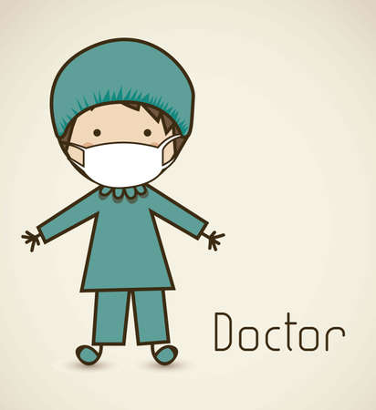 chirurg: Illustratie van een chirurg met een pak, dokter pictogram, vector illustration Stock Illustratie