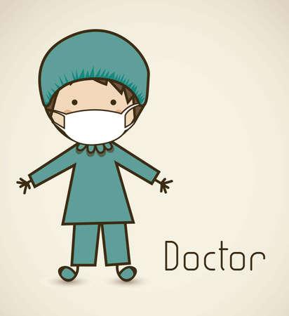chirurg: Illustration eines Chirurgen mit einem Anzug, Arzt-Symbol, Vektor-Illustration