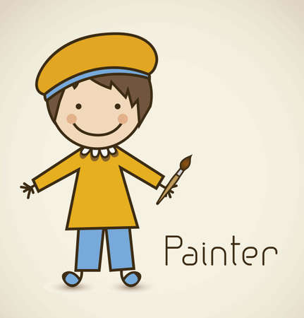 Illustration of a painter with brush, vector illustration Vector