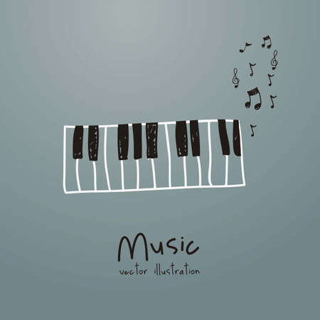 Illustration of a music icon, with  piano and musical notes, vector illustration Vector