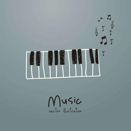 musical instruments: Ilustraci�n de un icono de la m�sica, con piano y notas musicales, ilustraci�n vectorial