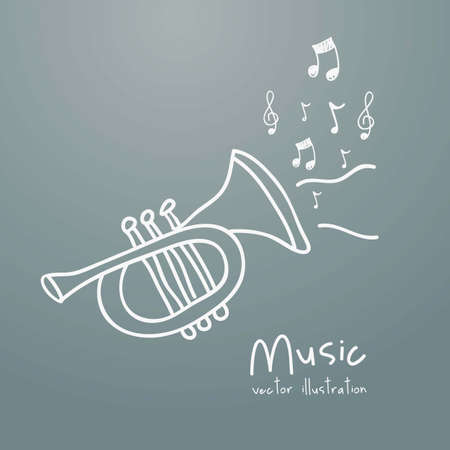 Illustration of a music icon, with trumpet and musical notes, vector illustration Vector