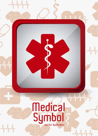 Illustration of Medical Logo Vector, in red colour, vector illustration Çizim
