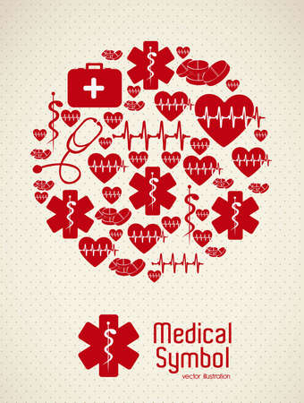the first love: Illustration of Medical Logo Vector, in red colour, vector illustration Illustration