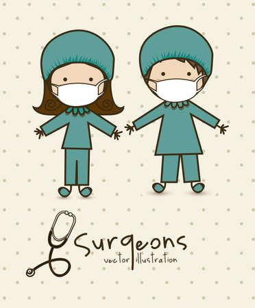 chirurgo: Illustrazione delle professioni, un paio di medico, illustrazione vettoriale