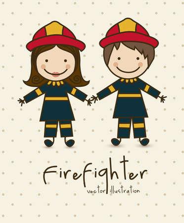 пожарный: Иллюстрация профессий, иконы пожарным, векторные иллюстрации