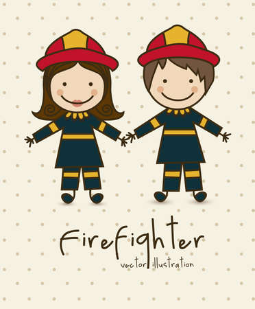 Illustration of professions, icons of  firefighter, vector illustration Vector