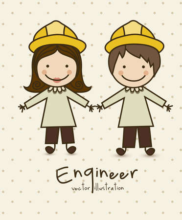 Illustration of professions, icons of engineer, vector illustration Vector