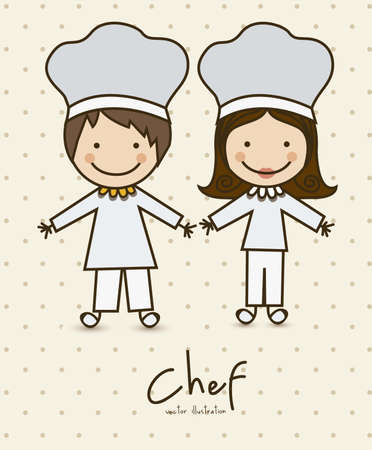 cocinero italiano: Ilustraci�n de las profesiones de cocinero, iconos, ilustraci�n vectorial