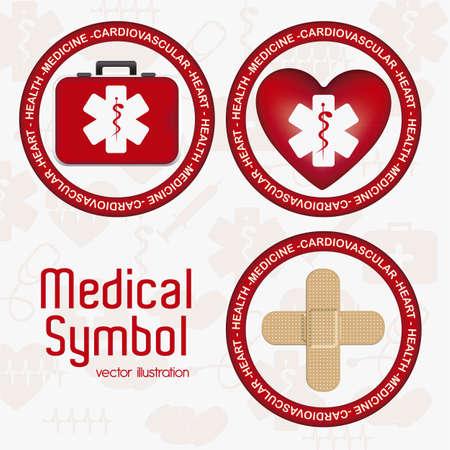 medical attendance: Illustration of Medical Logo Vector, in red colour, vector illustration Illustration