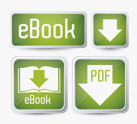 scribe: Illustration of Download ebook, with book icons, vector illustration Illustration