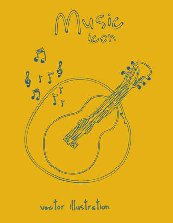 Illustration of a music icon, with  guitar and musical notes, vector illustration Vector