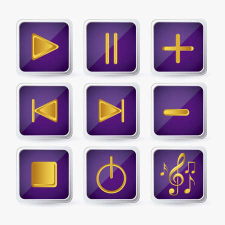 Illustration of icons playback, fast forward, pause, rewind, play. vector illustration Vector