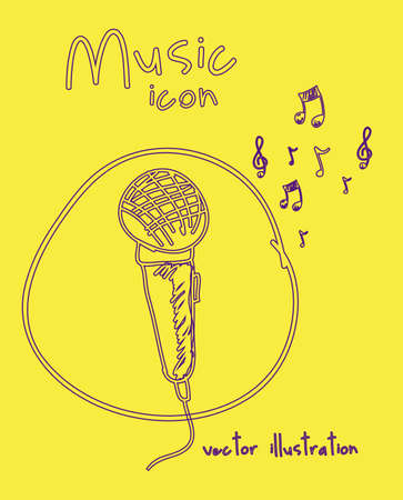 Illustration of a music icon, with microphone and musical notes, vector illustration Vector