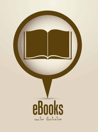 libros: Ilustraci�n de ebook descarga, con iconos de libro, ilustraci�n vectorial
