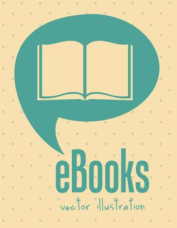 note book: Illustrazione di ebook download, con le icone di libri, illustrazione vettoriale Vettoriali