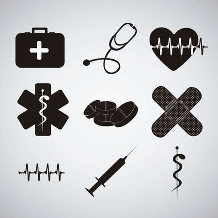 medical attendance: Illustration of Medical Logo Vector, in black colour, vector illustration