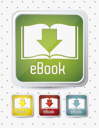 Illustratie van downloaden e-boek, met boek pictogrammen, vector illustratie Vector Illustratie