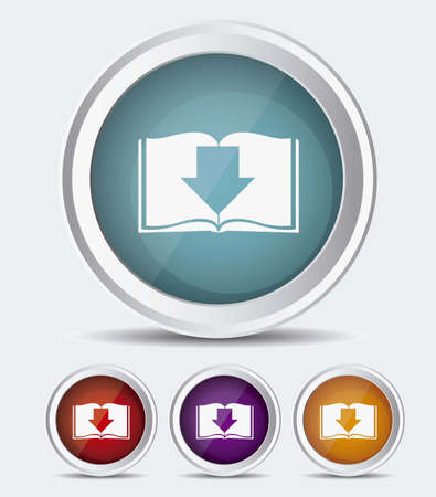 audiobook: Illustration of Download ebook, with book icons, vector illustration Illustration