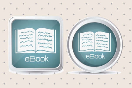 Illustration of Download ebook, with book icons, vector illustration Vettoriali