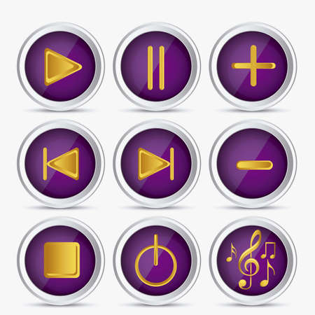 playback: Illustration of icons playback, fast forward, pause, rewind, play. vector illustration