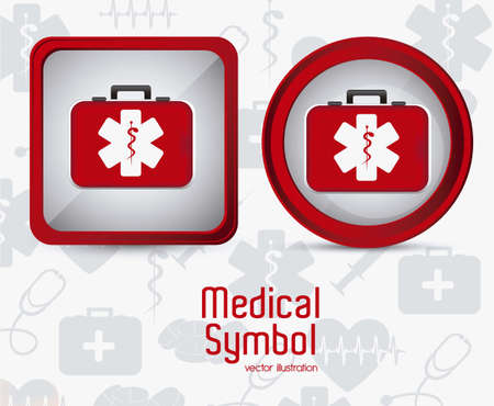 Illustration of Medical Logo Vector, in red colour, vector illustration Vector