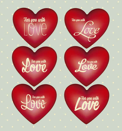 sentiment: Illustration of love icons with hearts, vector illustration