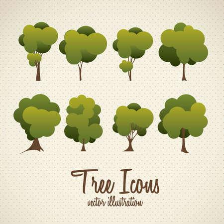 cedar: Ilustración del icono del árbol con las hojas, ilustración vectorial Vectores
