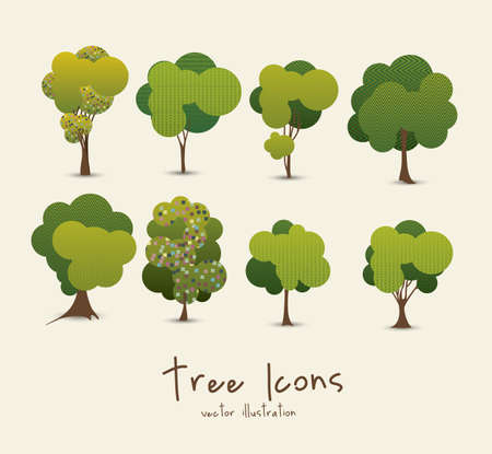 rainforest tree: Illustration of tree icons with leaves, vector illustration
