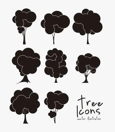 Illustration of tree icons with leaves, vector illustration Stock Vector - 16818499
