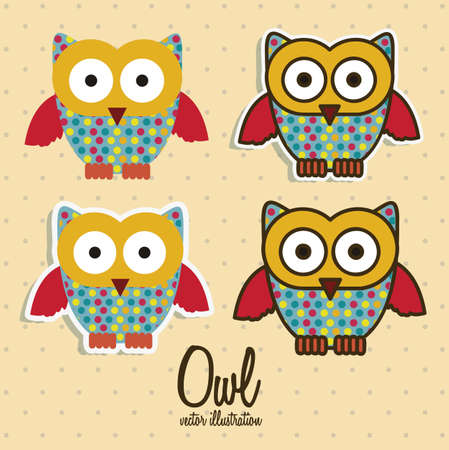 Illustration of colorful owls on white background, vector illustration Vector