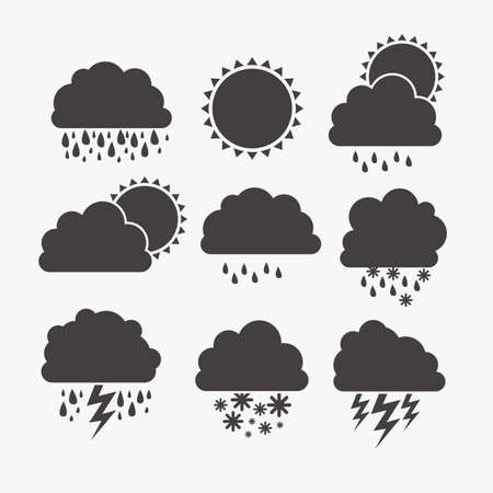 storm rain: Illustration of icons sun icons of weather and seasons, vector illustration     Illustration