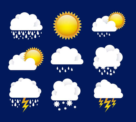 Illustration of icons sun icons of weather and seasons, vector illustration Stock Vector - 16818963