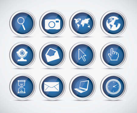 Illustration icon set of computers and networks, vector illustration Vector