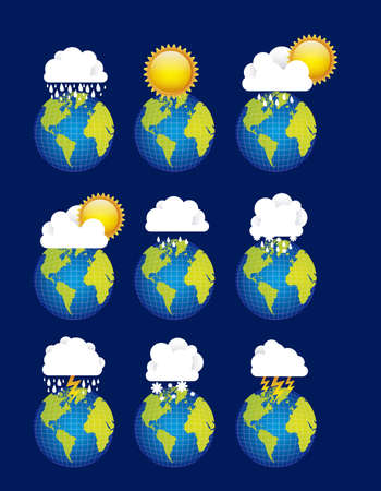 Illustration of icons sun icons of weather and seasons, vector illustration   Vector