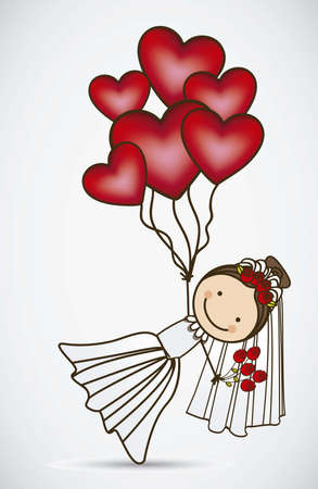 hot wife: Illustration of bride with hearts balloons, love icons, vector illustration
