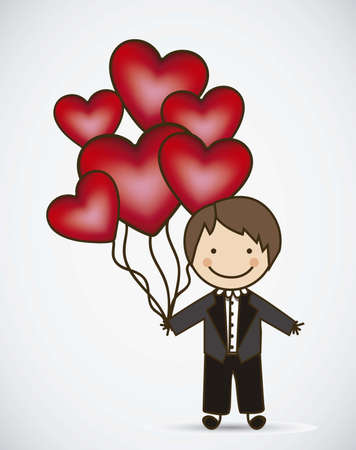 hot wife: Illustration of groom with hearts balloons, love icons, vector illustration Illustration