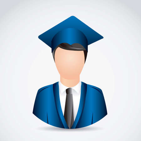 cap and gown: Illustration young man graduating with mortarboard, vector illustration Illustration