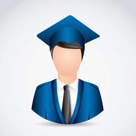 toga y birrete: Ilustración joven graduado con birrete, ilustración vectorial Vectores