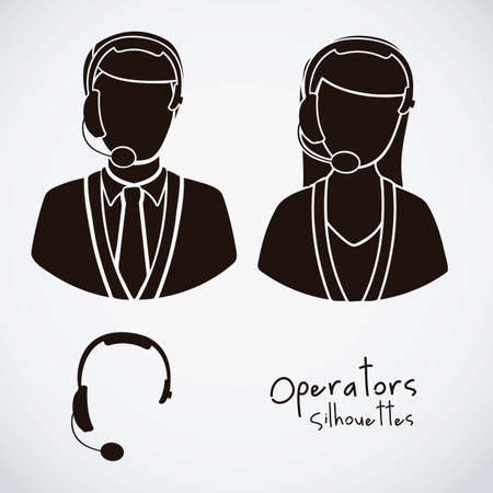 answering phone: Illustration icon set of operators and e-commerce, vector illustration