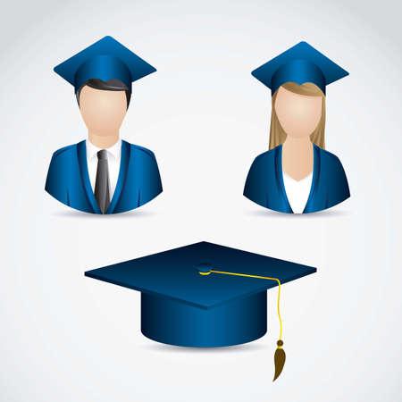 Ilustración de los iconos de los graduados. Universidad iconos. ilustración vectorial